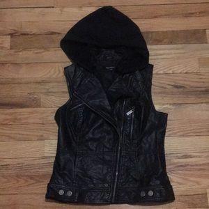 Bebe Black Leather Hooded Vest